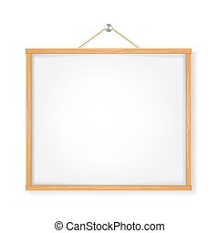 white lacard with wooden frame hanged on white. vector