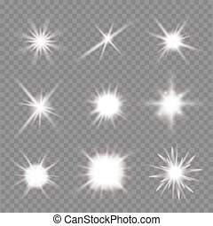set of light flashes over transparent background. vector...