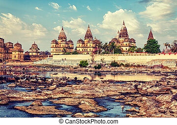 Royal cenotaphs of Orchha, Madhya Pradesh, India - Vintage...