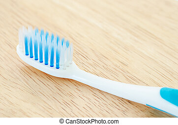 Blue color toothbrush - Close up blue color toothbrush on...