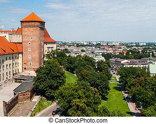 View from Wawel Royal Castle in Krakow