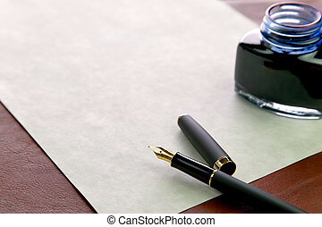 Write a letter - Gold nibbed fountain pen, watermarked...