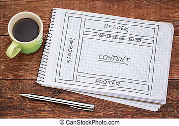 designing website layout - a sketch in a spiral notebook...