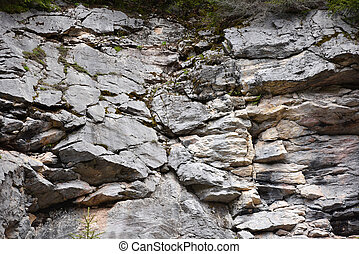 Geological fault in a limestone rock wall