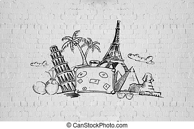 drawing of travel stuff and touristic landmarks - tourism,...