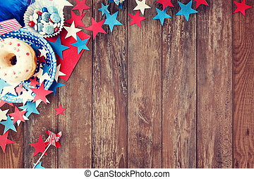 donut with candies and stars on independence day - american...