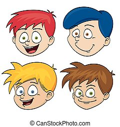 Illustration of funny faces of boys
