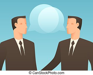 Dialogue business conceptual illustration with talking...