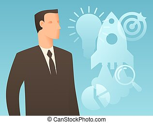 Business conceptual illustration with businessman