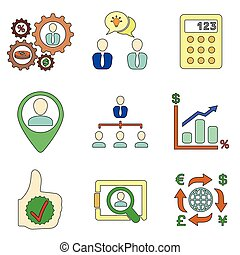 a selection of colorful financial icons - statistics,...