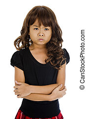 angry little asian girl, isolated on white background