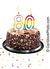 Eightieth birthday or anniversary - Chocolate birthday cake...