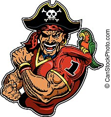 pirate football player mascot design for school, college or...