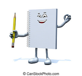 blank spiral notepad with arms, legs and a pencil on hand -...