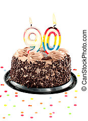 Ninetieth birthday or anniversary - Chocolate birthday cake...