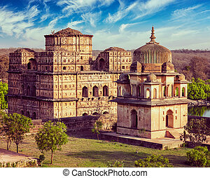Royal cenotaphs of Orchha, India - Vintage retro effect...
