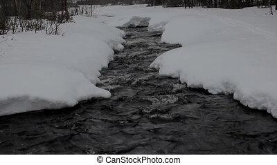 Beginning of winter Snowing over frozen river - winter...