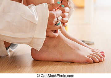 woman feeling vulnerable sexy and in love - feet of a woman...