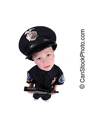 Boy Dressed up as a Police Officer - Little Boy Dressed up...