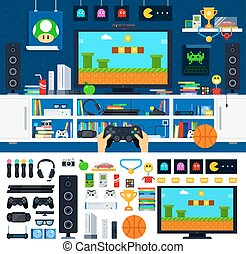 Gamer room interior with gadgets - Gamer tools vector flat...