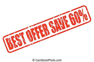 BEST OFFER SAVE 60 red stamp text on white