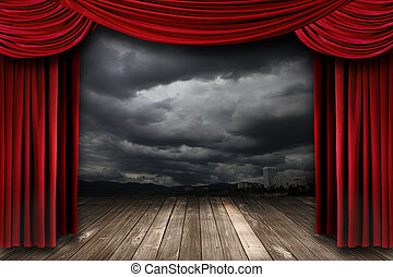 Bright Stage With Red Velvet Theater Curtains and Dramatic...
