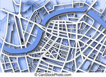 Blue map - Illustrated streetmap of a generic city with no...