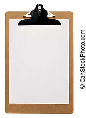 Clipboard with a blank piece of A4 paper isolated on a white...