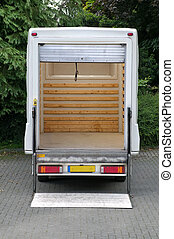Box van with tail lift - Rear view of an empty white box van...