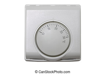 Thermostat - Central heating thermostat control isolated on...