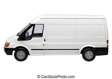 White van side - White model van, side view with blank...