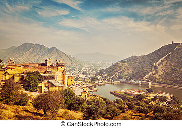 View of Amer Amber fort and Maota lake, Rajasthan, India -...