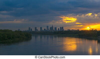 Timelapse with Cityscape of Warsaw