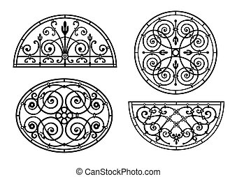 Set of forged lattices semicircular, round, oval to...
