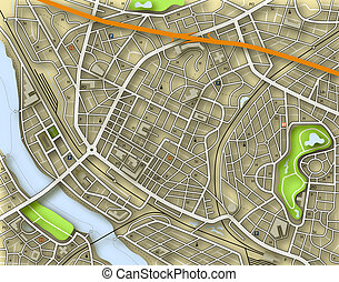 City color map - Illustrated map of a generic city with no...