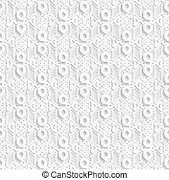 Seamless white 3D pattern,  east ornament, indian ornament, vector. Endless texture can be used for wallpaper, pattern fills, web page  background,surface textures.