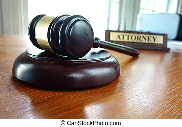 Judges gavel - Judges legal gavel and Attorney nameplate on...