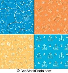 Sea life seamless patterns collection - Bright collection of...