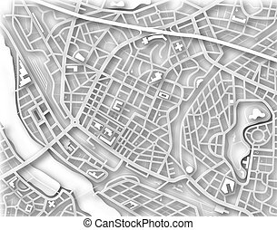 City map - Illustrated map of a generic city with no names