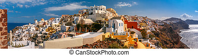 Panorama of Oia or Ia, Santorini, Greece - Picturesque...