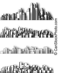 City skylines - Set of simple 3-dimensional city skylines...