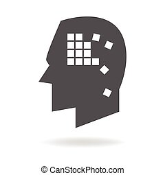 Alzheimers Disease Mind Icon - Memory concept graphic, boxes...