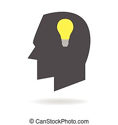 Creative Thinking - Human head icon with light bulb,...