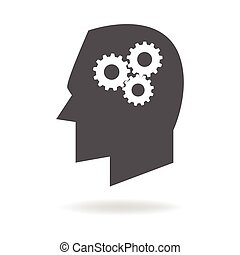 Thinking Process - Human head icon with gears, symbolize for...