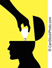 Stealing Idea - Silhouette of a hand picking up a light bulb...