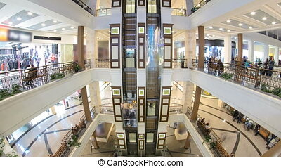 Motion elevators at the modern shopping mall timelapse...