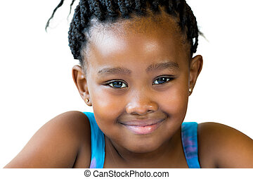 Face shot of cute african girl isolated.