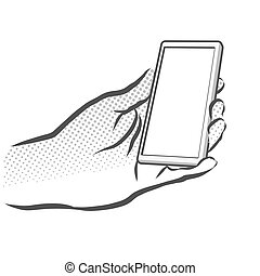 Sketched Hand Holding Mobile Phone