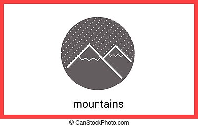 Mountain peaks contour outline vector