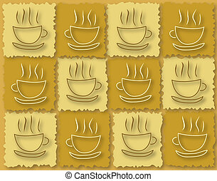 Coffee break - Background illustrated design of coffee cups...